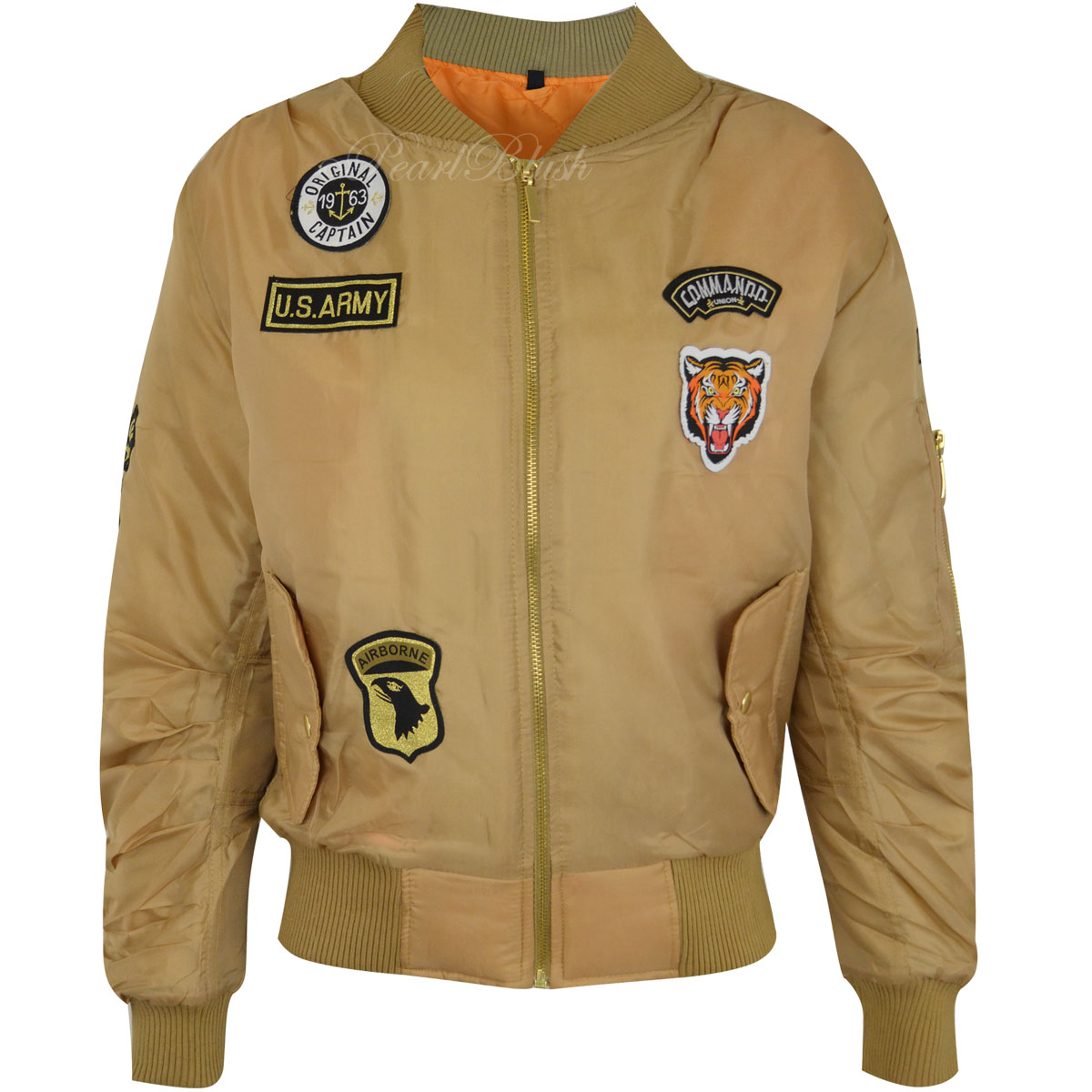 New Ladies Womens Retro Bomber Jacket Scooter US Army Badges ...